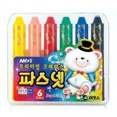 프리미엄 파스넷 크레파스 6색 유아용