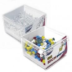 대용량 리치장구푸쉬핀(투명/컬러) 플라스틱케이스/장구핀