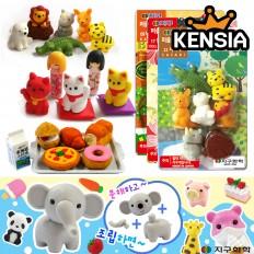 이와코 퍼즐지우개 먹지마 지우개  동물 음식 캐릭터